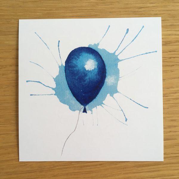 Bursdagskort - blå ballong