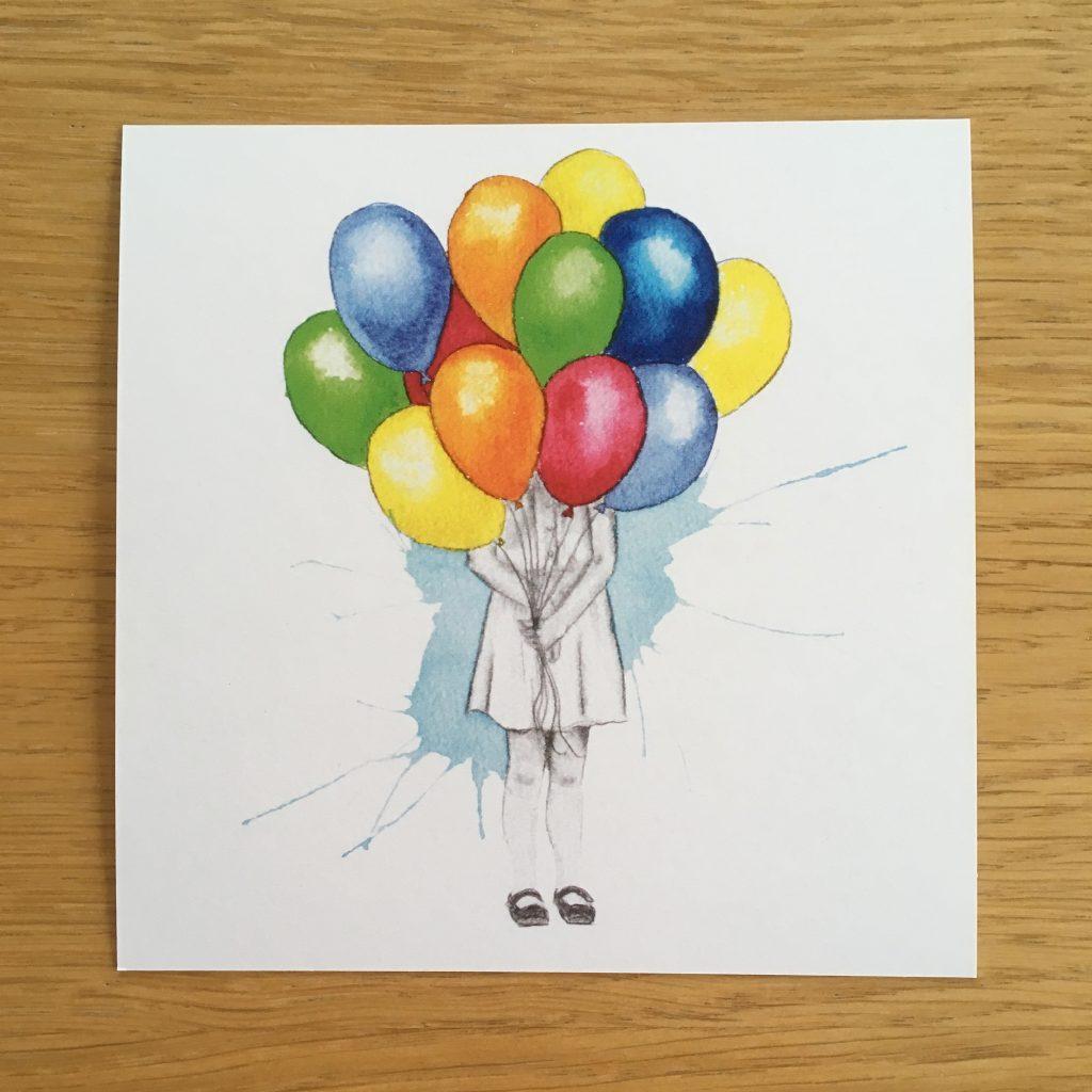 Bursdagskort - jente med ballonger