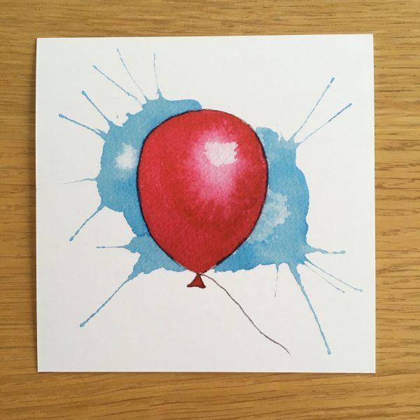 Bursdagskort - rød ballong
