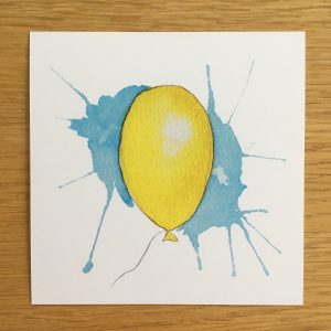 Bursdagskort - gul ballong