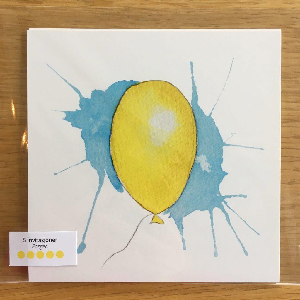 Bursdagsinvitasjon - gul ballong