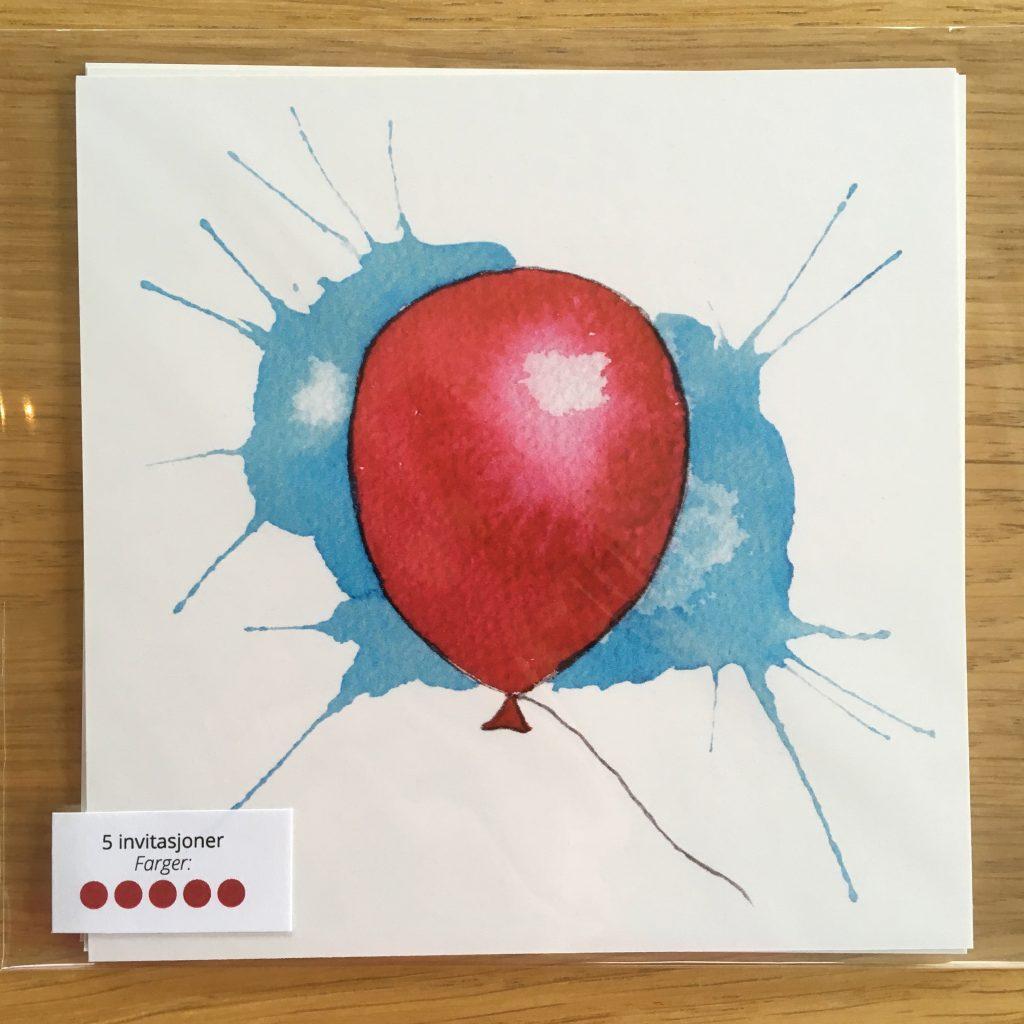 Bursdagsinvitasjon - rød ballong