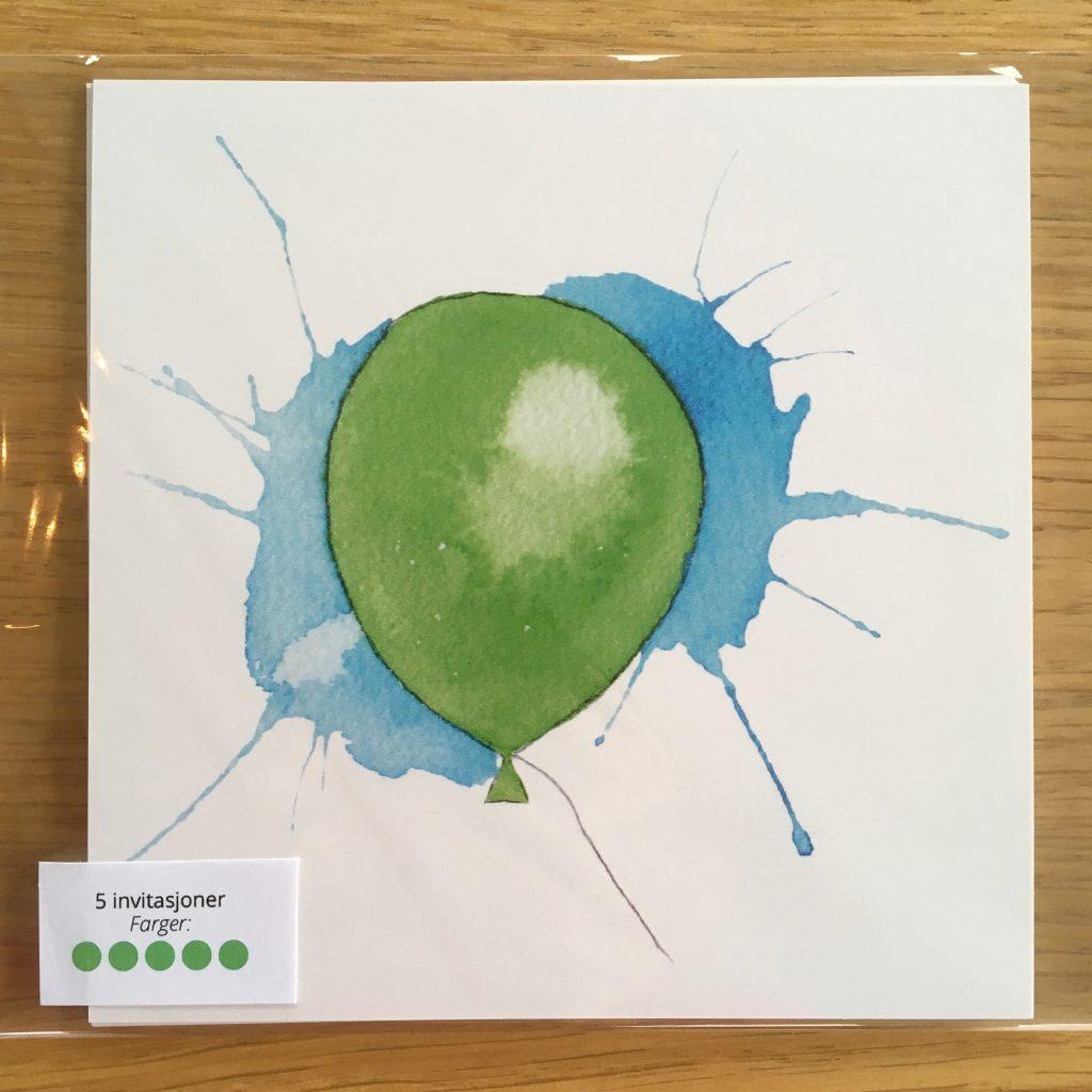 Bursdagsinvitasjon - grønn ballong
