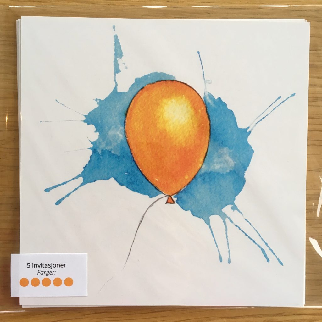Bursdagsinvitasjon - oransj ballong