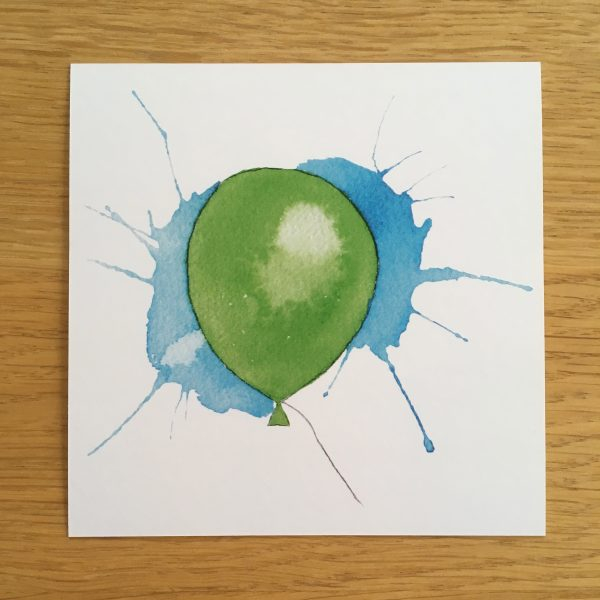 Bursdagskort - grønn ballong