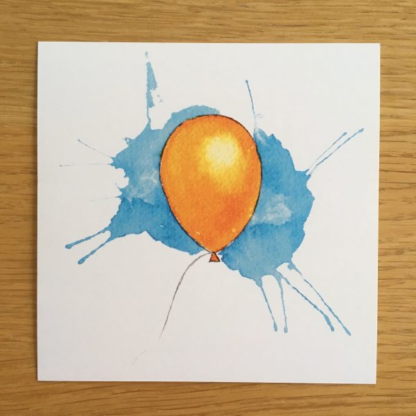Bursdagskort - oransj ballong