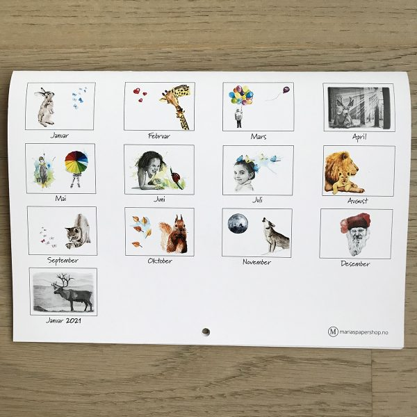 Kalender A4, liggende format, bakside