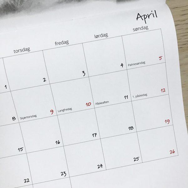 Kalender A4, liggende format, nærbilde
