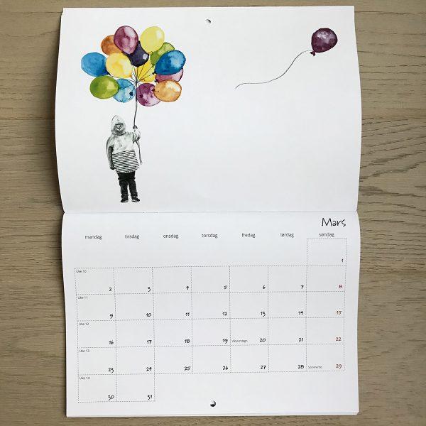 Kalender A4, liggende format